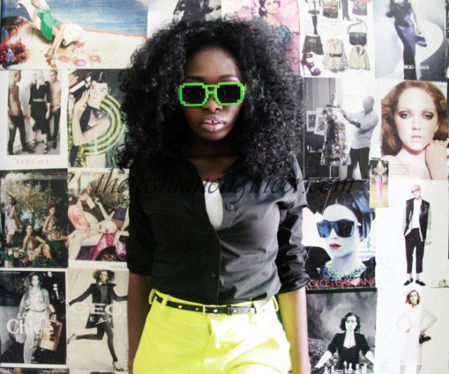neon shorts and neon glasses